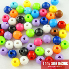 Free Shipping Opaque Mixed Acrylic Plastic Smooth Round Ball Spacer Beads 6 8 10 MM Pick Size For Jewelry Making AC7