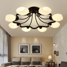 American Iron Ceiling chandelier modern European bedroom living room lamp restaurant 4/6/8 circulars milky lampshade lustres
