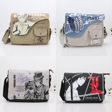 Anime Naruto Uzumaki Canvas Bag Black Butler Death note Attack On Titan Shoulder Bag Sling Bag School Cosplay toy bag