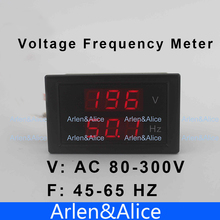 LED dual display Voltage frequency meter voltmeter range AC 80-300V 45.0-65.0 Hz Panel Monitor(China)