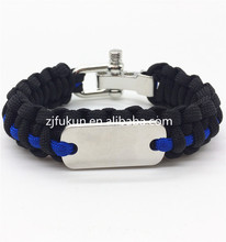 Outdoor Travel Camping Thin Blue Line Black Braided Cobra Weave Metal Buckle Dog Tag Paracord Survival Bracelet