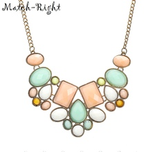 Match-Right 2015 New Arrival Fashion Jewelry Trendy Women Necklaces & Pendants Link Chain Statement Necklace Resin Pendant