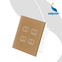 4 Key 1Way  Lamp Controlled Electric Switch / Luxury Golden Touch ON/Off  Switch Panel 85VAC-250VAC  (SPT-SM-41)