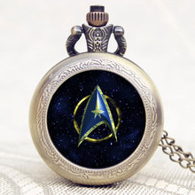 So Cool Star Trek Design Bronze Quartz Pocket Watch With Chain Necklace Best Gift For Men/Women(China)