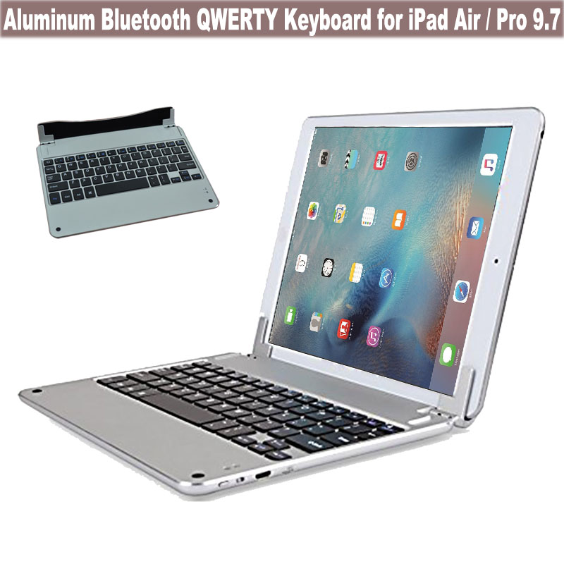 Ultra Thin Aluminum Bluetooth Keyboard Case w/ Magnetic Grip, Adjustable Stand For Apple iPad Pro 9.7 for iPad Air 3 / 2 / 1<br><br>Aliexpress