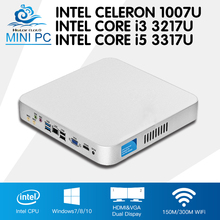 Intel Mini PC Core i5 3317U i3 3217U Cooling Fan Celeron 1007U Windows 10 Mini Computer Desktop Multimedia Office Computer