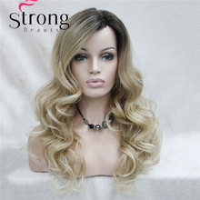 Lace Long Curly Brown BLonde Ombre Monofilament Side Part Heat ok Ombre Dark Brown Blonde Full Synthetic Wig
