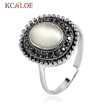 KCALOE Vintage Opal Stone Ring For Women Oval Moonstone Accessories Black Antique Rhinestone Jewelry For Wedding Ring Anel Pedra