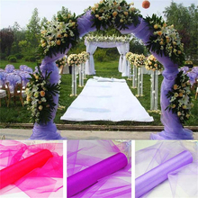 High Quality 48cm*10m Sheer Crystal Organza Tulle Roll Fabric for Wedding Party Decoration or New Year Decoration 5ZSH015-1(China)