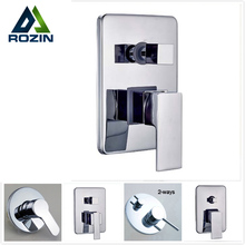 Free Shipping Brass Hot Cold Bath Mixer Valve Wall Mounted Chrome Shower Set Water Control Valve(China)