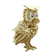 BOHS Wooden Owl Woodcraft 3D Puzzle Model,Educational Toys(China)