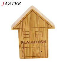 JASTER wooden house Pendrive houten USB Flash Drive Memory Stick Auto usb flash drives 4gb 8gb 16gb 32gb 64gb LOGO customer(China)
