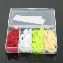 100Pcs/box 2.4cm 0.4g Maggot Grub Soft Lure Baits Worms Glow Shrimps Fishing Lures(China)