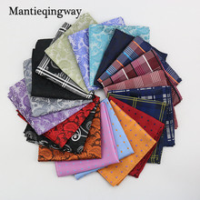 Mantieqingway Polyester Hanky Gold & Black Paisley Men Fashion Plaid Pocket Square Handkerchiefs for Men Suit Tie Handkerchief(China)