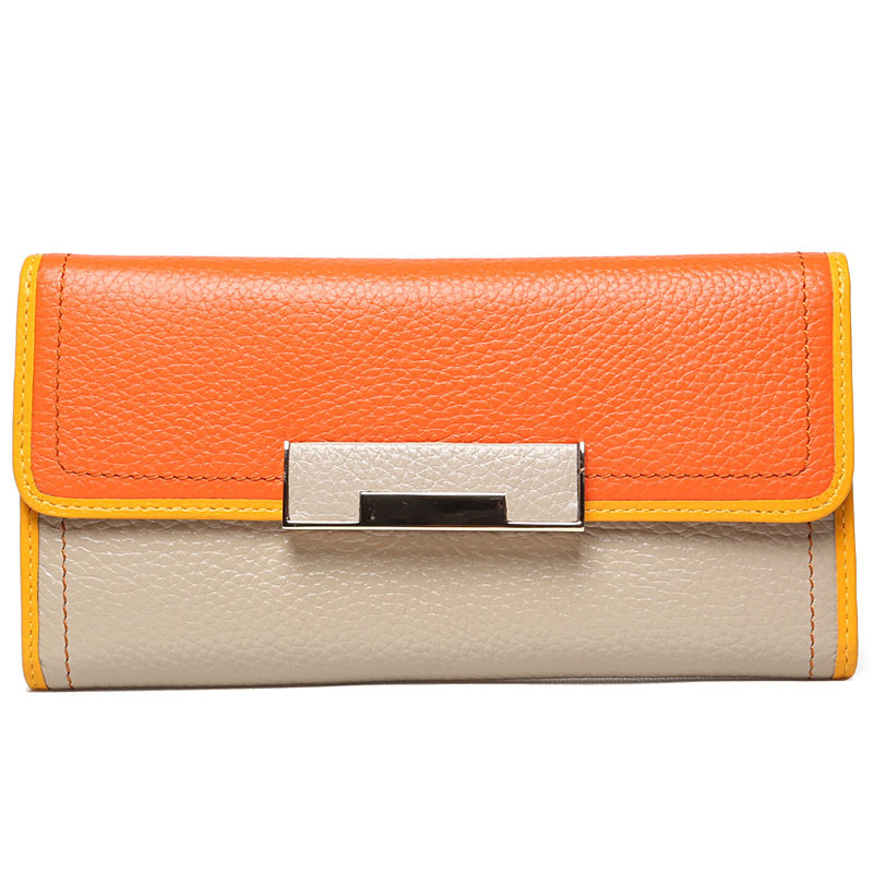 2016 High-capacity  Genuine Leather Fashion Lady Women Wallets Patchwork Clutch Bag Wallet Long Pocket Card Money Holder Purse<br>
