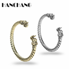 The Vikings jewelry Vintage Accessories Elephant Head Bangles Bracelets Gold Sliver Plated Metal Thread Circlet Bracelet for men(China)