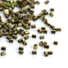 8SEASONS Japanese Glass Seed Beads Hexagon golden tone Antique Gold About 2x2mm,Hole: About 0.8mm,10 Grams(About 140 PCs/Gram)(China)