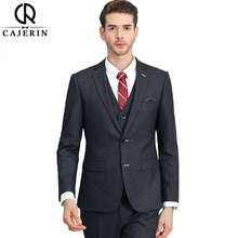 Cajerin Polyester Men's Clothing Smart Casual Wedding Men Suit Tailor Suit Blazer Grey Suits (Jacket+Pants+Vest For Custom Made(China)