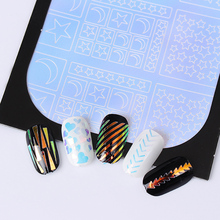 Glass Paper Hollow Nail Vinyls 1 Sheet Adhesive Clear Colorful 3D Nail Art Stencil Stickers DIY Nail Decorations Accessoreis(China)