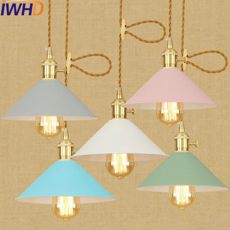 IWHD LED Pendant Light Fixtues Iron Vintage Retro Lamp Bedroom Dining Loft Industrial Pendant Lights Color Suspension Luminaire <br>