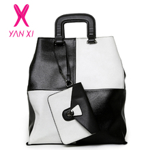 YANXI New 2016 New Hot Women Patchwork Good PU Leather Tote Fashion Versatile Zipper Handbags US Dollar Designer Shoulder Bags