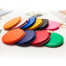 New Portable girl mini PU Leather pocket makeup mirror Key Chain Keyring cosmetic compact mirrors double Dual sides frame 8CM(China)