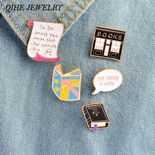5pcs/set Pins brooch Books bookstore message to do list Cartoon pins Lapel pin Funny badge Gift for students