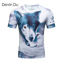 3d t shirt men 2017 summer new arrival 3D funny wolf men's T-shirt extended plus size 4XL homme top tees wholesale(China)