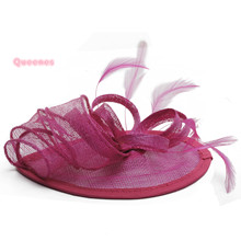 2017 Blue Purple Sinamay Hairband Fashion Vintage New Feather Headband For Women Cocktail Party Banquet Fancy Sinamay Fascinator