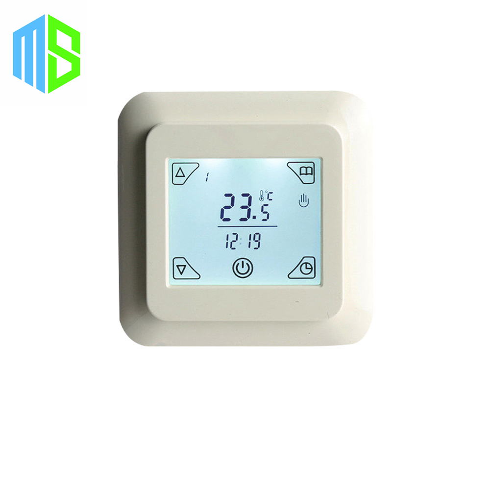 220V 16A Heat New Touch Screen 6 Periods Weekly Programmable Underfloor Heating System Warm Room Thermostat Thermocouple<br>