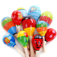 All match Wooden Maraca Rattles 1-2 years Educational Kids Musical Party Favor Child Shaker Toy Hot Baby Rattles & Mobiles #10(China)