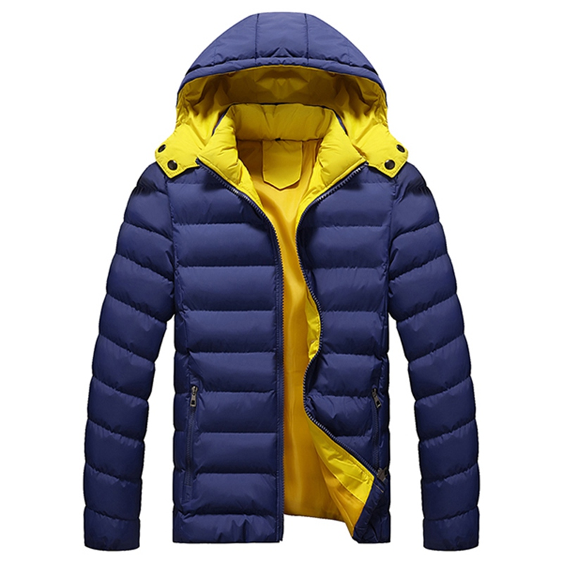 2017 Men Warm Winter Fashion Jackets Casual Hooded Solid Color Parka Dawn Jacket Men Hat Detachable Outwear Chaquetas HombreÎäåæäà è àêñåññóàðû<br><br>