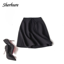 Buy 2018 Thicken Women Skirts High Waist Lace-Up Knitted Skirt Solid A-Line Skirts Casual Silm Sexy Mini Skirt Female Faldas Saia for $24.69 in AliExpress store