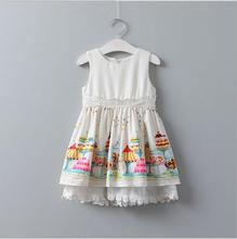 Girls Cotton Lace Sleeveless Dresses 2017 White Girl Dresses Belle Dress Cute Girl Clothing Elegant Princess Belle Clothes