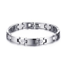 2016 Limited Magnet Round New 8mm Tungsten Steel Health Bracelet Fashion Mens Magnetic Therapy Germanium Ion Wrist Cz Men(China)
