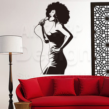 Art new design PVC home decor cheap Afric Singer wall sticker removable house decoration pop music artist decals in rooms