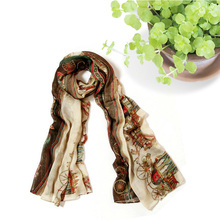 Carriage Print Ladies Scarfs Celebrity Famous Brand Wrap Long Soft Cotton Voile Scarf Women Designer Woman Classic Big Scarves
