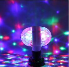 Double Head LED Stage Lights RGB Crystal Ball Rotating Lights 6 Leds E27 3W KTV Bar Disco Party Decor Lamp