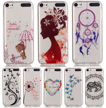 DEEVOLPO Transparent Soft Bags Cases For Apple ipod touch 5 touch5 Love Girl Pattern TPU Silicon Thin  Cover Shell  DP71