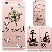 Newest Transparent Dream Travel Styles Compass Pattern Phone Case For iphone 5 5s /6 6s plus Soft Clear Skin Back Cover Capa