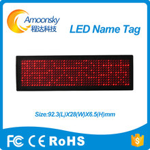 red led name tag red led name badge 11*44 dots scrolling screen business card tag display advertising rechargeable programmed(China)