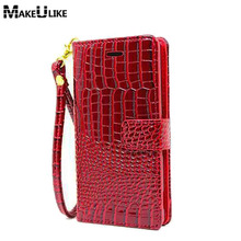 Buy Luxury Wallet Case Sony Xperia E4 Pouch Crocodile Leather Flip Cover Xperia E4 E2003 phone Bags Hand Strap for $4.99 in AliExpress store