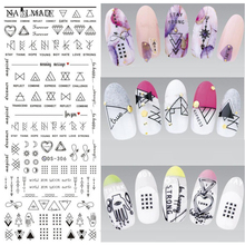 1 sheet Geometric Water Decals Nail Art Line Transfer Decals Triangle Nail Art Water Seal Water Slides DS306(China)