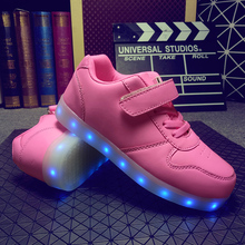 Child Jazzy glowing casual shoes Junior Girls Boys LED Light Children Luminous Shoes Kids Sneakers With USB rechargeable baby(China)
