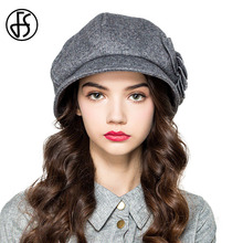 FS Winter Hats For Women Elegant Wool Fedora With Gray Wine Red Camel Flowers Felt Bowler Floppy Hat Ladies Warm Cap(China)