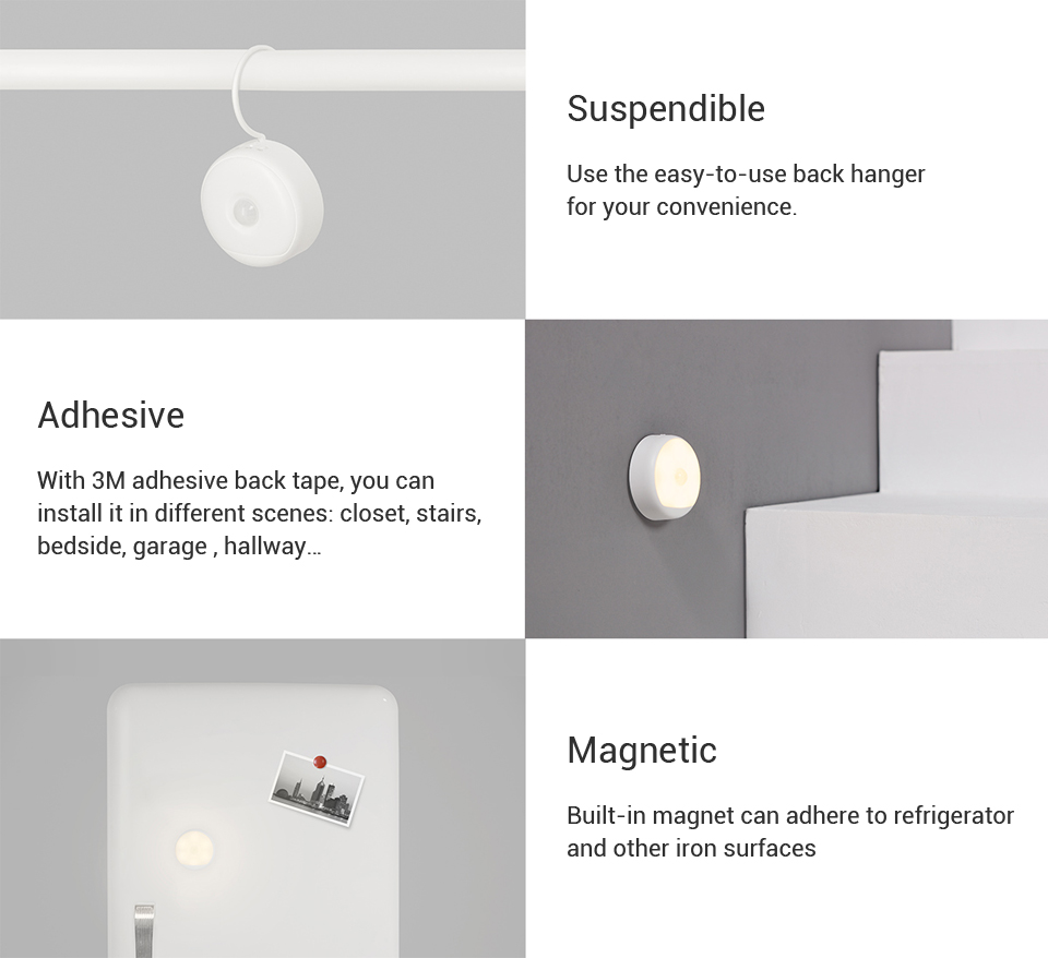 Xiaomi Yeelight LED Infrared Human Motion Sensor Night Light Smart USB Rechargeable Nightlight Magnetic Lamp Easy Installation (27)
