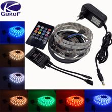 5050 RGB LED Strip Light 5M 30LED/M 3528 RGB 60led/m SMD Diode Tape LED Ribbon with Music Remote Controller 2A/3A Power Adapter