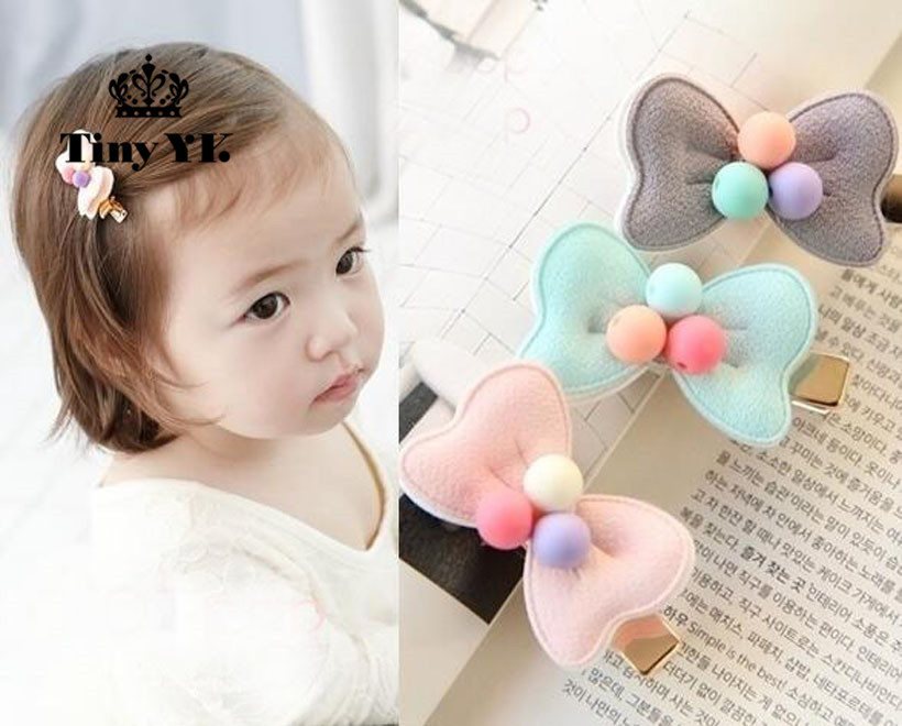 Cute Bow Gold colorway hair clips for kids Coloful Beads Kids accessories Barrette Gift hair favor(China)