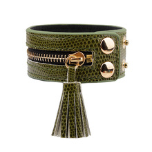 South Korea Fashion Multicolor Snake Skin Man-Made Leather Zipper Rivet Women Bracelets Bangles