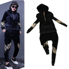 Velour Good Quality Women Tracksuits Winter Autumn Embroidery Eagles Beading Hoody Tops Pants Suts Clothing Set Hoodies NS145